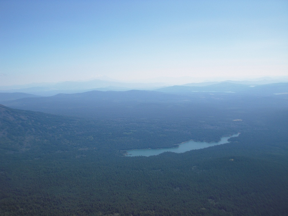 That is Fish Lake in the foreground and Mt. Shasta (14,179ft) in the faint background.