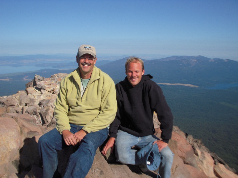 My dad and I at the top of Mt. McLoughlin.
